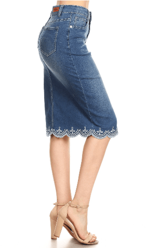 Vintage Wash Denim Pencil Skirt - Hello, Sunshine Market