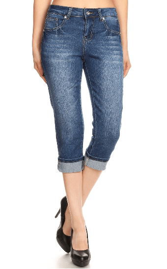 Plus Stretch Denim Capris