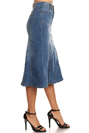 Indigo Wash Stretch Denim Skirt - Hello, Sunshine Market