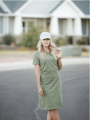 (Medium & 3XL ) - Olive T-Shirt Dress
