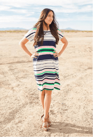 (Medium) - Multi-Striped Midi Dress