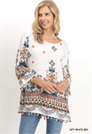 Ivory Top With Multi Color Print And Pom-Pom Fringe