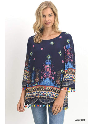 (Small) - Navy Top With Multi Color Print And Pom-Pom Fringe - Hello, Sunshine Market