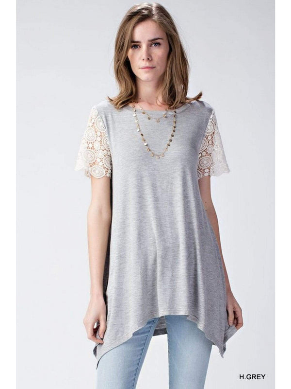 (Small) - Heather Grey Tunic Top With Crochet Sleeves