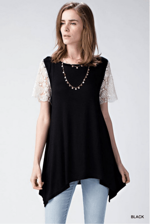 (Small) - Black Tunic Top With Crochet Sleeves