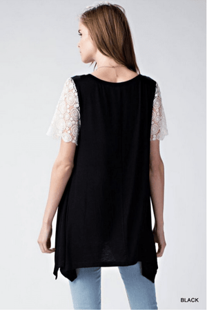 Black Tunic Top With Crochet Sleeves