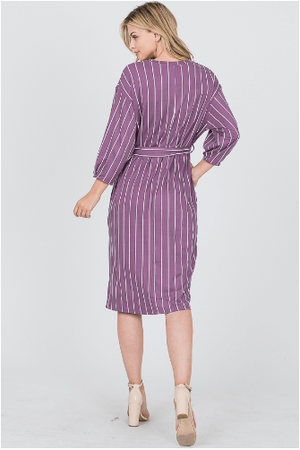 Purple Pin Pleats Sleeve Dress