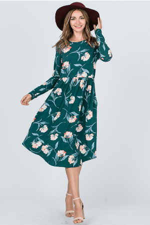 Green Floral Long Sleeve Midi Dress With Pockets - Hello, Sunshine Market
