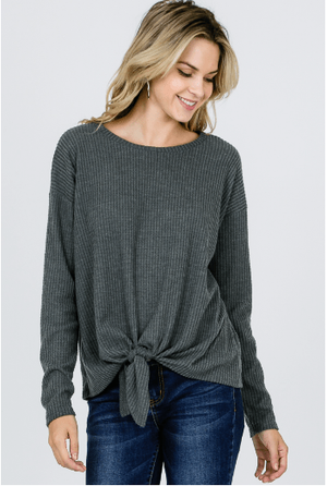 Charcoal Waffle Brush Knit Top
