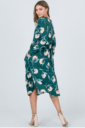 Green Floral Long Sleeve Midi Dress With Pockets