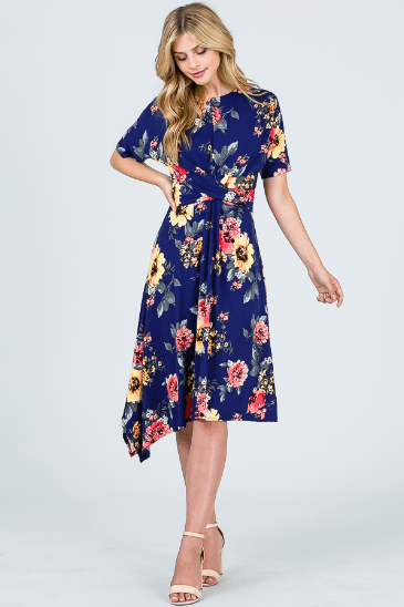 Royal Blue Floral Midi Dress - Hello, Sunshine Market