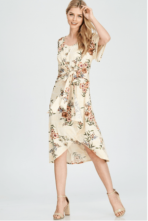 (Small) - Yellow Floral Unbalanced Dress