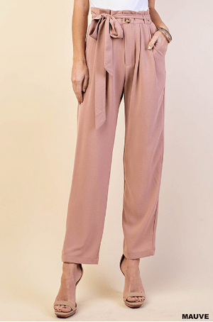 Mauve Paper Bag Waist Pants