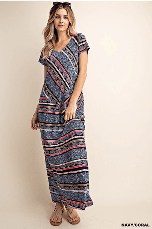 Navy / Coral Stripe Pattern Maxi Dress