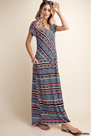 Navy / Coral Stripe Pattern Maxi Dress - Hello, Sunshine Market