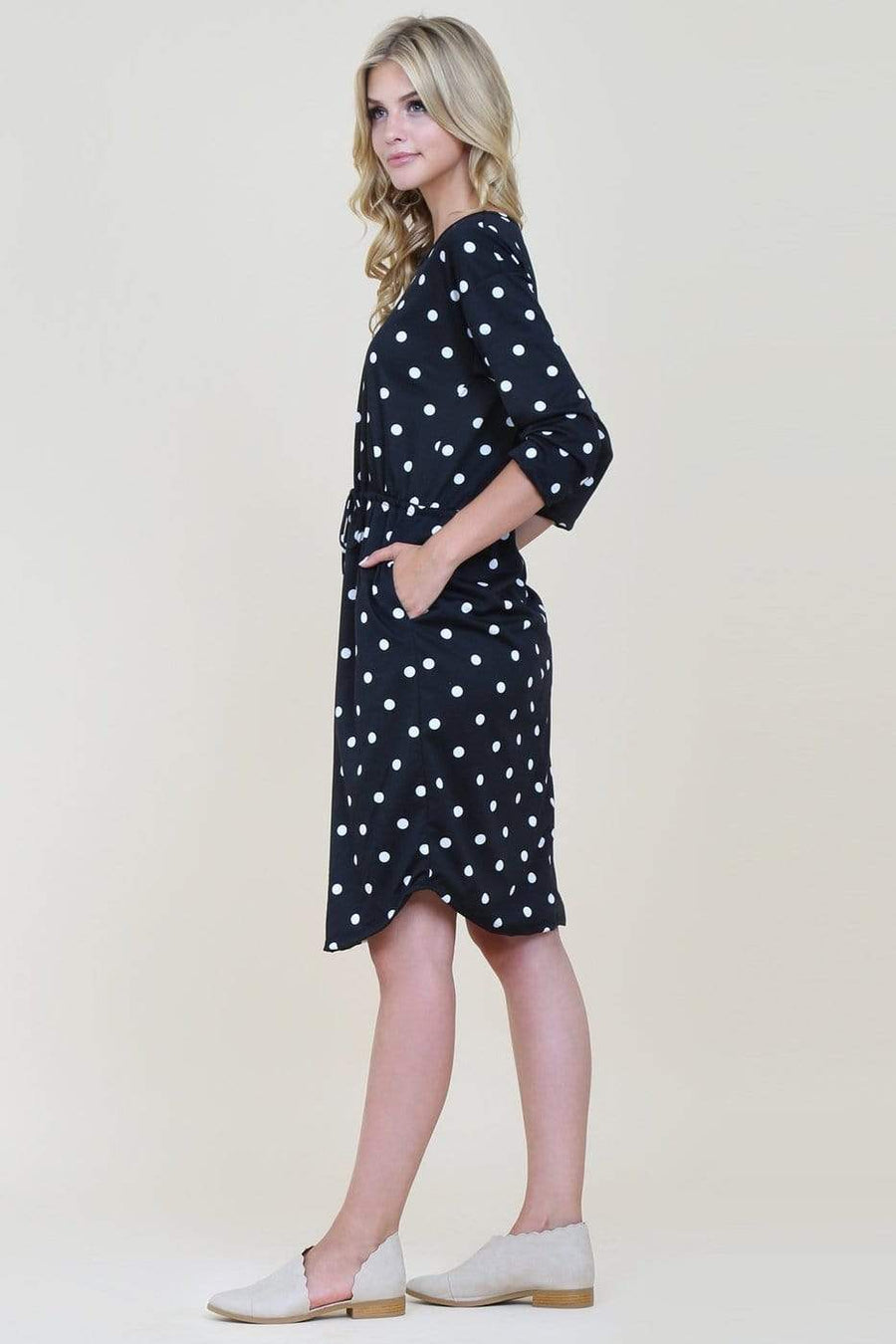 Black Polka Dot Dress With Side Pockets - Hello, Sunshine Market