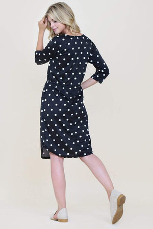 Black Polka Dot Dress With Side Pockets