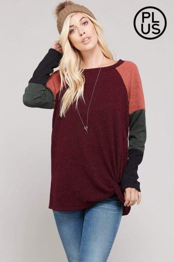 Plus Burgundy Block Sweater With Front Twist Knot
