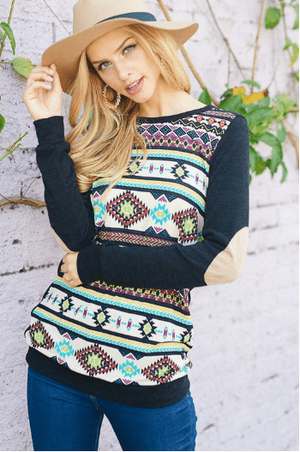 Plus Black Long Sleeve Aztec Print With Elbow Patch