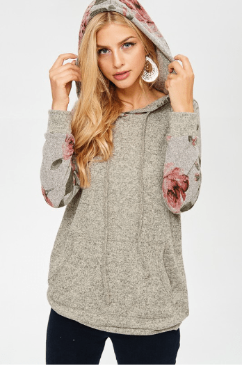 Grey Solid Hoodie With Floral Sleeves