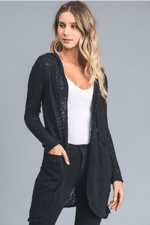 Black Solid Cardigan With Floral Hood - Hello, Sunshine Market