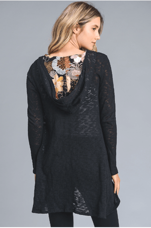 Black Solid Cardigan With Floral Hood