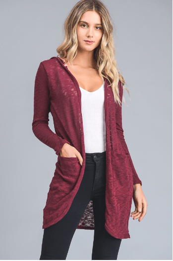 Burgundy Solid Cardigan With Floral Hood