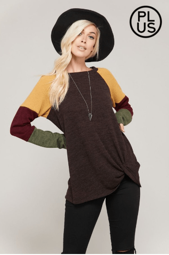 Plus Brown Block Sweater With Front Tie Knot - Hello, Sunshine Market