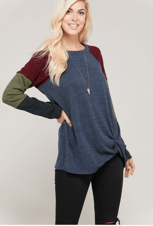Navy Block Sweater With Front Twist Knot - Hello, Sunshine Market