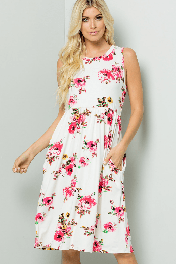 (3XL) - Ivory Floral Baby Doll Dress