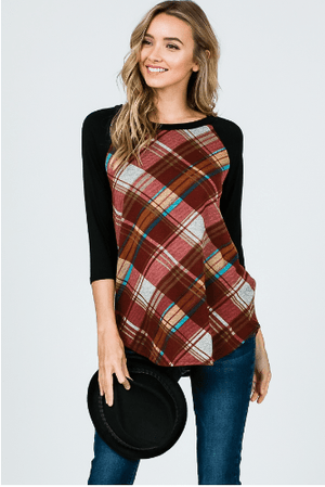 (Small) - Plaid Raglan Top - Hello, Sunshine Market