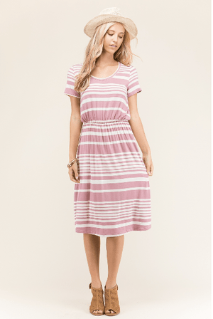 Mauve Striped Midi Dress - Hello, Sunshine Market
