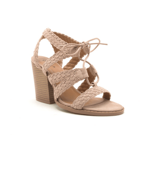 Braided Straps Lace Up Block Heel Sandal
