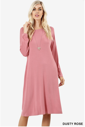 Mauve Shoulder Dress With Side Pockets - Hello, Sunshine Market