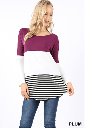 Plum Color Block Stripe Top