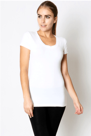 White Scoop Neck Short Sleeve Tee