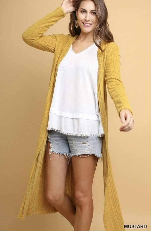 Mustard Long Cardigan With Side Slits