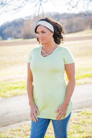 (Small) - Pale Lime Crisscross Tunic Top