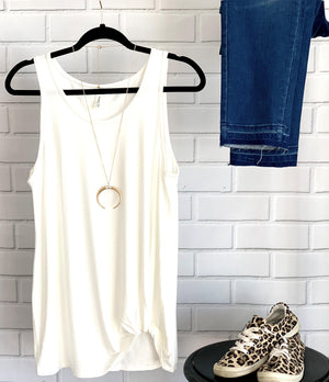 Ivory Tank Top With Twist Knot