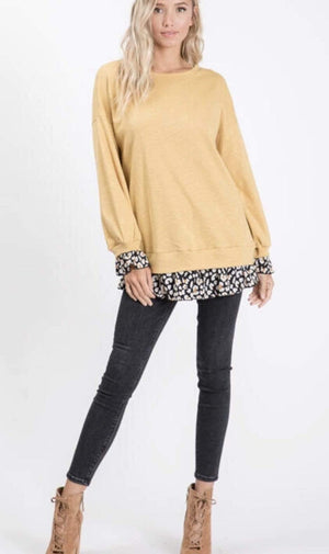 Mustard Top With Floral Ruffle Hem - Hello, Sunshine Market