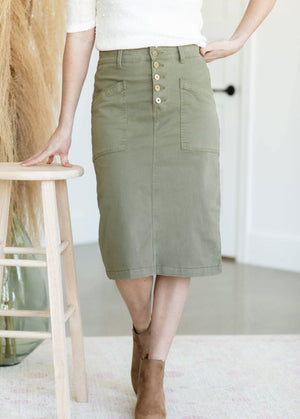 Kennedy Olive Military Style Midi  Skirt