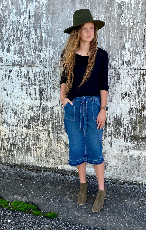 Paper Bag Waist Denim Skirt