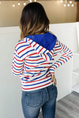 HalfZip Sweatshirt-Red, White & Blue