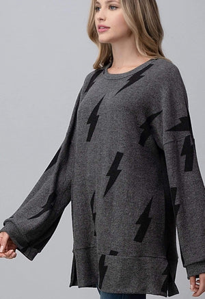 Grey Lightning Print Wide Sleeve Sweater