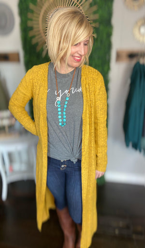 Mustard Long Cardigan With Side Slits - Hello, Sunshine Market