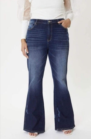 Plus Dark Wash Flare Jeans - Hello, Sunshine Market