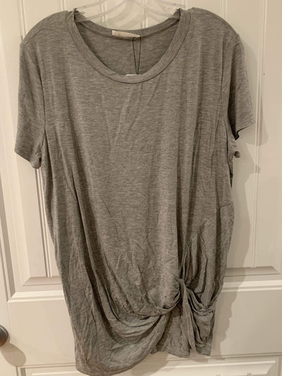 Heathered Grey Tunic Top With Front Knot - Hello, Sunshine Market