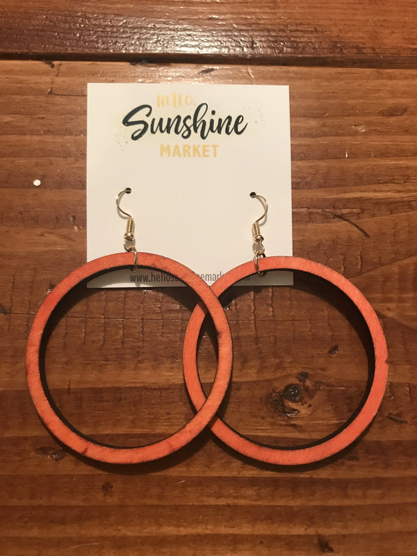 Wood Hoop Earings - Hello, Sunshine Market