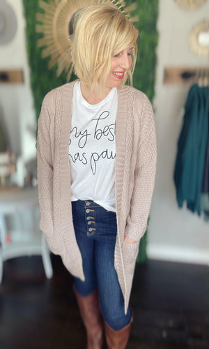 Rose Water Long Cardigan With Pockets - Hello, Sunshine Market
