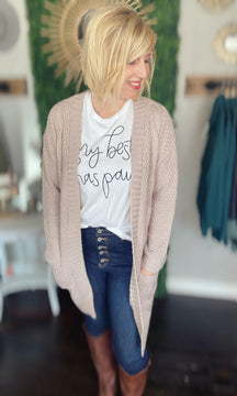 Rose Water Long Cardigan With Pockets